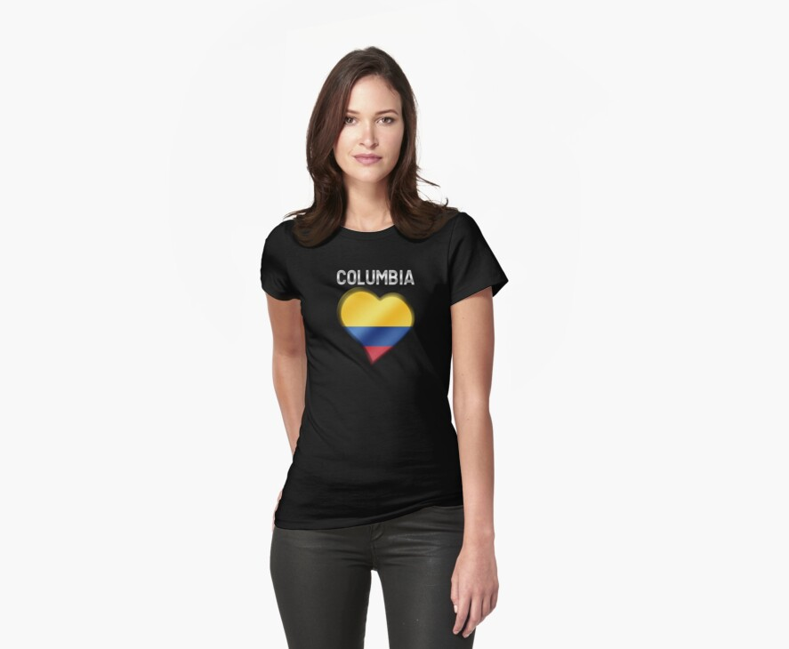 Columbia - Columbian Flag Heart & Text - Metallic by graphix