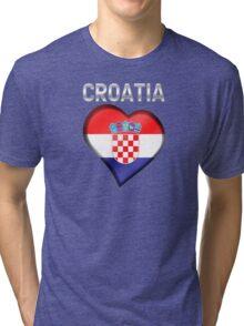 Croatia - Croatian Heart & Text - Metallic Tri-blend T-Shirt