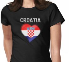 Croatia - Croatian Heart & Text - Metallic Womens Fitted T-Shirt