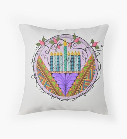 Hanukkah Menorah/3 - Feathers/3 Throw Pillow