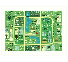 cartoon map of beijing Art Print