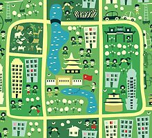 cartoon map of beijing by Anastasiia Kucherenko