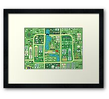 cartoon map of beijing Framed Print