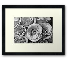 Rose Bouquet in Black and White Framed Print