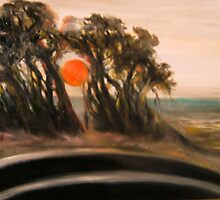 Sunset and Cypress and Highway 1 by Barbara Sparhawk