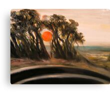 Sunset and Cypress and Highway 1 Canvas Print