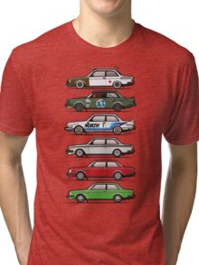Stack Of Volvo 242 240 Series Brick Coupes Tri-blend T-Shirt