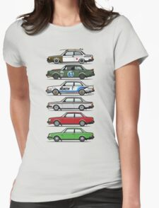 Stack Of Volvo 242 240 Series Brick Coupes Womens Fitted T-Shirt