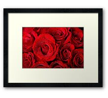 Red Rose Bouquet and Water Drops Framed Print