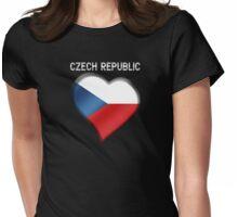 Czech Republic - Czech Flag Heart & Text - Metallic Womens Fitted T-Shirt