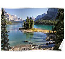 Famous Spirit Island on Maligne Lake, Jasper NP Poster