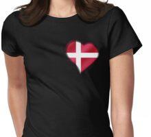 Danish Flag - Denmark - Heart Womens Fitted T-Shirt