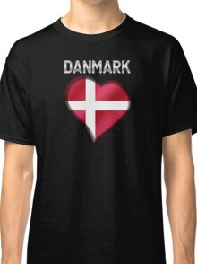 Danmark - Danish Flag Heart & Text - Metallic Classic T-Shirt