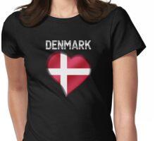 Denmark - Danish Flag Heart & Text - Metallic Womens Fitted T-Shirt
