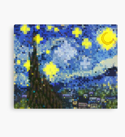 8-bit Starry Night Canvas Print