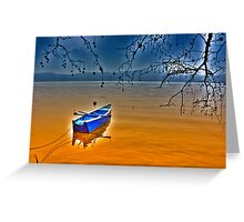 Boat in snow with blue sky Greeting Card