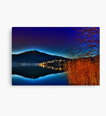 view of a city at sunset time Canvas Print