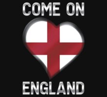 Come On England - English Flag Heart & Text - Metallic by graphix