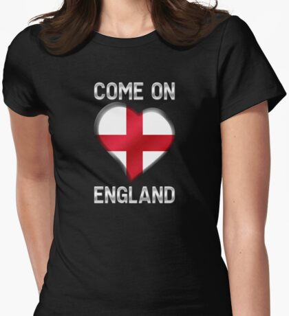 Come On England - English Flag Heart & Text - Metallic Womens Fitted T-Shirt