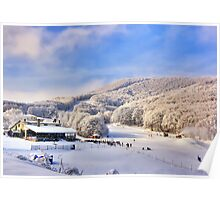 Snow center at Alps with sun Poster