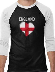 England - English Flag Heart & Text - Metallic Men's Baseball ¾ T-Shirt