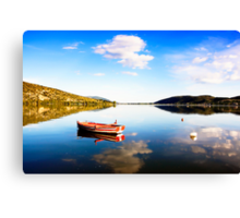 Boat in Kastoria lake (Makedonia, Greece) Canvas Print