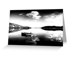 Black and white boat in Kastoria lake (Makedonia, Greece) Greeting Card