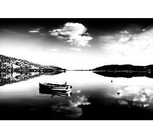 Black and white boat in Kastoria lake (Makedonia, Greece) Photographic Print