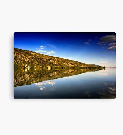 mirror mountain in Kastoria Lake (Makedonia, Greece) Canvas Print