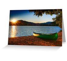 canoe cayak at lake into Sunset Greeting Card