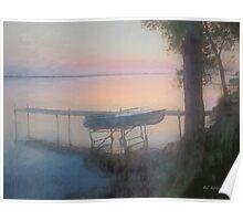 Lake Mist at Sunrise Poster