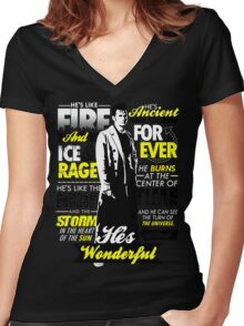 Fire and Ice and Rage  Women's Fitted V-Neck T-Shirt