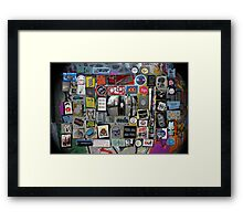 street art in London city - sticker wall  Framed Print