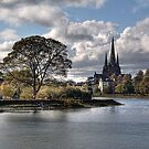 Stowe Pool and Lichfield Cathedral, England by Ann Garrett