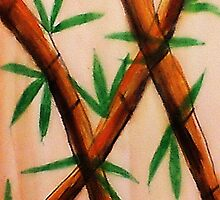 Bamboo,  4th version, watercolor by Anna  Lewis, blind artist