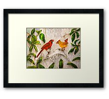 Cardinal birds - Singing of love Framed Print