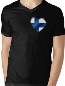 Finnish Flag - Finland - Heart Mens V-Neck T-Shirt