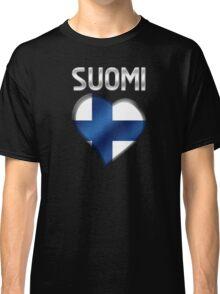 Suomi - Finnish Flag Heart & Text - Metallic Classic T-Shirt