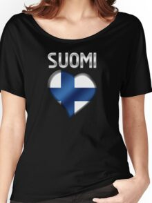 Suomi - Finnish Flag Heart & Text - Metallic Women's Relaxed Fit T-Shirt