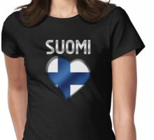 Suomi - Finnish Flag Heart & Text - Metallic Womens Fitted T-Shirt