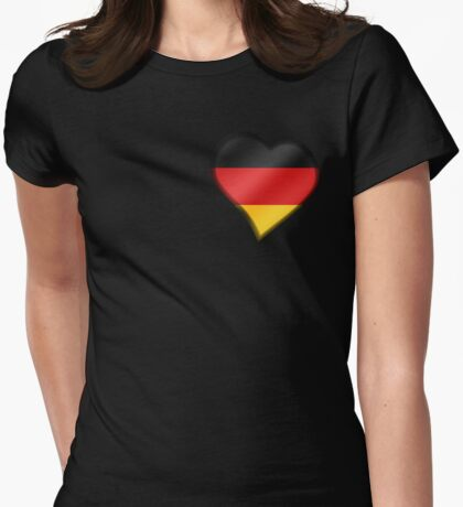 German Flag - Germany - Heart Womens Fitted T-Shirt