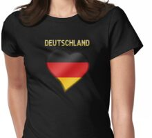 Deutschland - German Flag Heart & Text - Metallic Womens Fitted T-Shirt