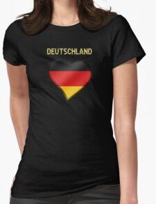 Deutschland - German Flag Heart & Text - Metallic T-Shirt