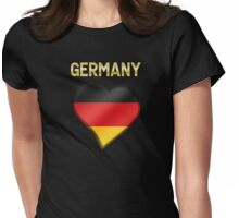 Germany - German Flag Heart & Text - Metallic Womens Fitted T-Shirt