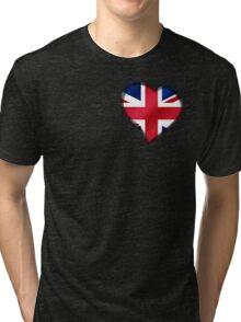 British Union Jack Flag - United Kingdom UK - Heart Tri-blend T-Shirt