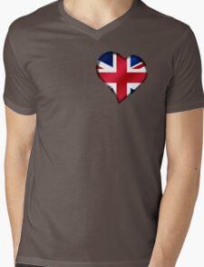 British Union Jack Flag - United Kingdom UK - Heart Mens V-Neck T-Shirt