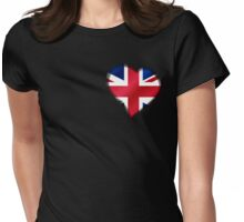 British Union Jack Flag - United Kingdom UK - Heart Womens Fitted T-Shirt