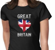 Great Britain - British Flag Heart & Text - Metallic Womens Fitted T-Shirt