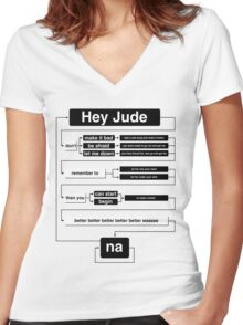 Hey Jude Women's Fitted V-Neck T-Shirt