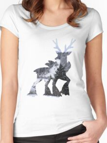 Sawsbuck (winter) used natural gift Women's Fitted Scoop T-Shirt